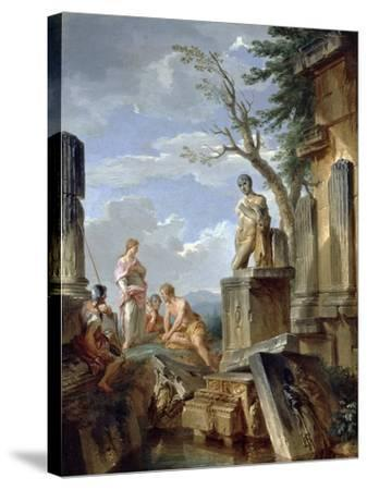 Ruins with a Sibyl and Other Figures, C.1720-Giovanni Paolo Pannini-Stretched Canvas Print