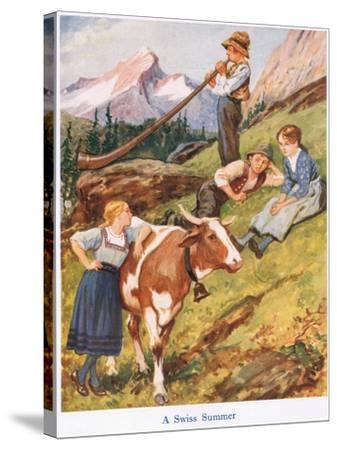 A Swiss Summer-Gordon Frederick Browne-Stretched Canvas Print