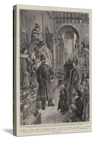 Sightseeing in London During the Christmas Holidays, a Visit to the Tower of London on a Free Day-Henri Lanos-Stretched Canvas Print