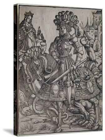 St. George on Horseback, C.1510-Hans Burgkmair-Stretched Canvas Print