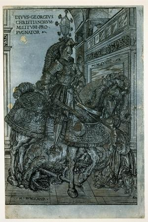 St George on Horseback, 1508-Hans Burgkmair-Stretched Canvas Print
