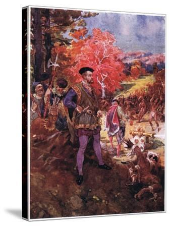Jacques Cartier and the Redskins, C.1920-Henry Sandham-Stretched Canvas Print