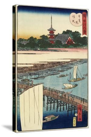 Returning Sails at Azuma Bridge, November 1861--Stretched Canvas Print