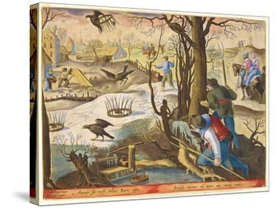 Birdcatchers Using Traps Baited with Rats to Capture Hawks-Jan van der Straet-Stretched Canvas Print