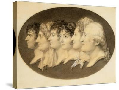 Profile Portrait of Augustin and His Family-Jean-Baptiste-Jacques Augustin-Stretched Canvas Print