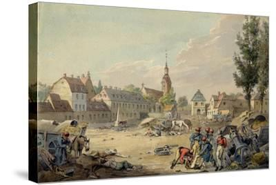 View of the Grimma Suburb, Leipzig, 1813-John Augustus Atkinson-Stretched Canvas Print