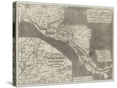 Map of Central America-John Dower-Stretched Canvas Print