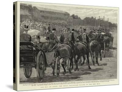 Cup Day at Ascot, the Royal Procession Passing Up the New Mile-John Charlton-Stretched Canvas Print