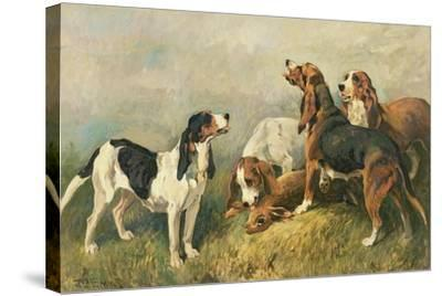 Hounds with a Hare-John Emms-Stretched Canvas Print