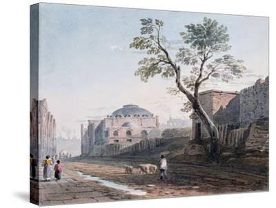 Scotch Church and the Remains of London Wall, 1818-John Varley-Stretched Canvas Print