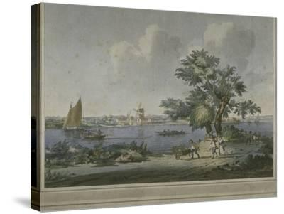View of Figures Transporting Vegetables Along the Bank of the River Thames, 1787-John the Elder Cleveley-Stretched Canvas Print