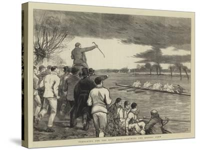 Preparing for the Boat Race, Coaching the Oxford Crew-Joseph Nash-Stretched Canvas Print