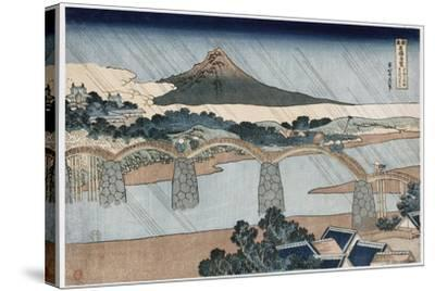 Kintai Bridge-Katsushika Hokusai-Stretched Canvas Print