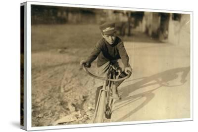 Curtin Hines Aged 14, Western Union Messenger for 6 Months, Houston, Texas, 1913-Lewis Wickes Hine-Stretched Canvas Print