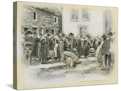 Pig Market-Mortimer Ludington Menpes-Stretched Canvas Print