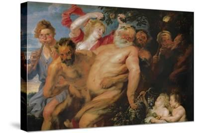Drunken Silenus Supported by Satyrs, C.1620-Peter Paul Rubens-Stretched Canvas Print