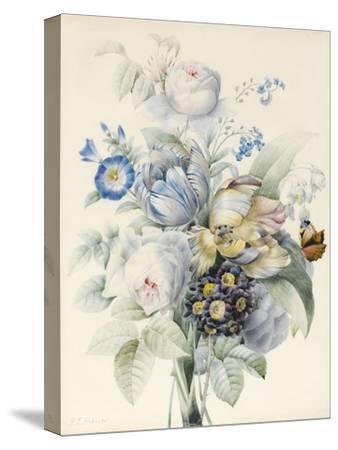 A Bunch of Flowers Including Roses-Pierre Joseph Redoute-Stretched Canvas Print
