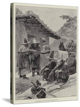 The War Between China and Japan, a Corean Rest-House-Richard Caton Woodville II-Stretched Canvas Print