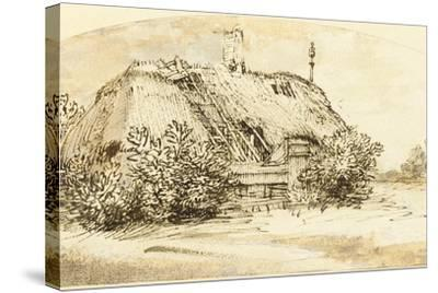 Ruined Thatched Cottage Overgrown with Bushes (Pen and Ink and Wash on Paper)-Rembrandt van Rijn-Stretched Canvas Print
