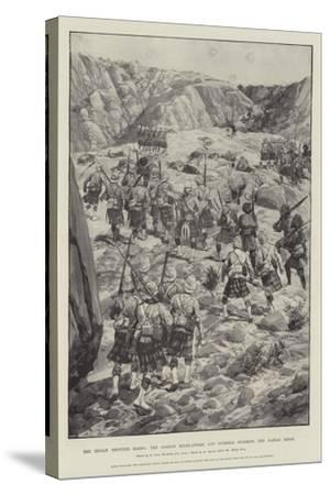 The Indian Frontier Rising, the Gordon Highlanders and Gurkhas Storming the Dargai Ridge-Richard Caton Woodville II-Stretched Canvas Print