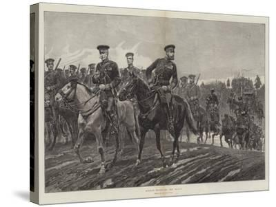 Russian Troops on the March-Richard Caton Woodville II-Stretched Canvas Print