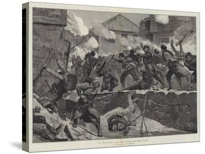 The War Between Servia and Bulgaria, the Fight at Pirot-Richard Caton Woodville II-Stretched Canvas Print