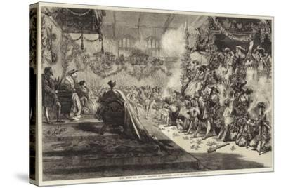 King Henry VIII Keeping Christmas at Greenwich-Sir John Gilbert-Stretched Canvas Print