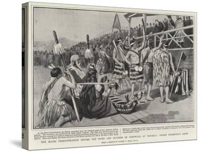 The Maori Demonstration before the Duke and Duchess of Cornwall at Rotorua, Chiefs Presenting Gifts-Sydney Prior Hall-Stretched Canvas Print