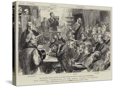 The Parnell Commission at the Royal Courts of Justice-Sydney Prior Hall-Stretched Canvas Print