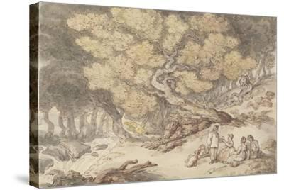 A Woodcutter's Picnic-Thomas Rowlandson-Stretched Canvas Print
