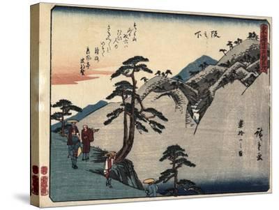 View of the Fudesute Mountain in Sakanoshita, 1837-1844-Utagawa Hiroshige-Stretched Canvas Print