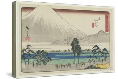 Kashiwahara Rest Area by the Pond with View of Mt. Fuji, Hara, 1841-1842-Utagawa Hiroshige-Stretched Canvas Print