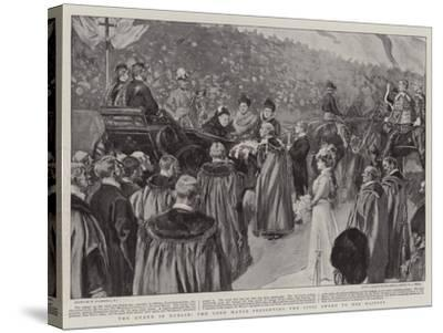 The Queen in Dublin, the Lord Mayor Presenting the Civic Sword to Her Majesty-William Hatherell-Stretched Canvas Print