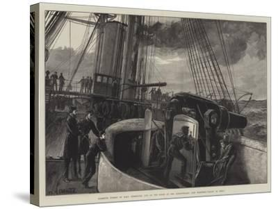 Barbette Turret of HMS Temeraire, One of the Fleet at the Dardanelles, Gun Practice, Ready to Fire!-William Heysham Overend-Stretched Canvas Print