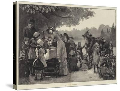 A Day in Arcadia-William Heysham Overend-Stretched Canvas Print