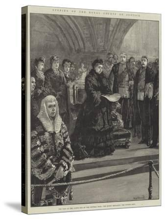 Opening of the Royal Courts of Justice-William Heysham Overend-Stretched Canvas Print