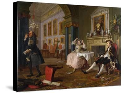 Marriage a La Mode: II - the Tete a Tete, C.1743-William Hogarth-Stretched Canvas Print