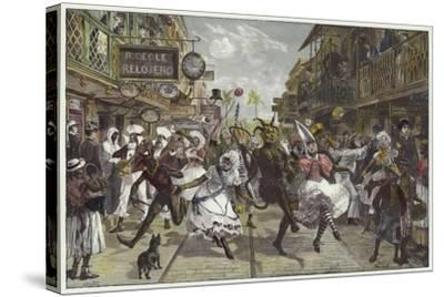 Carnival in Port of Spain, Trinidad-William Heysham Overend-Stretched Canvas Print