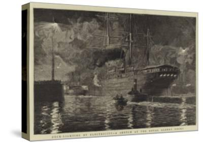 Dock-Lighting by Electricity, a Sketch at the Royal Albert Docks-William Lionel Wyllie-Stretched Canvas Print