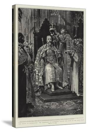 The Ensign of Sovereignty, the Archbishop of Canterbury Placing the Crown on the King's Head-William T^ Maud-Stretched Canvas Print