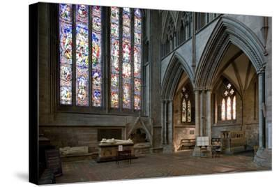 Aisle and Stained Glass Window in Hereford Cathedral--Stretched Canvas Print