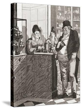 English Gentleman Paying the Bill in a Parisian Restaurant--Stretched Canvas Print