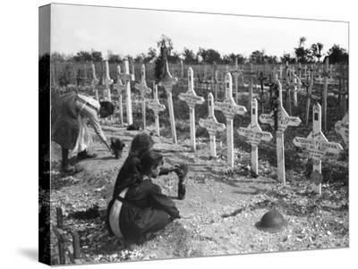 French Children Tending Graves at Adelaide Cemetery of Australians Killed in Battle on the Western--Stretched Canvas Print