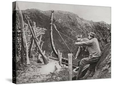 French Soldiers Using a Catapult for Flinging Bombs During World War One--Stretched Canvas Print