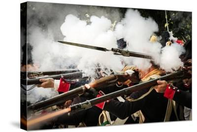 Historical Reenactment: French Front-Line Infantry Firing on Enemy--Stretched Canvas Print