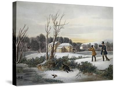 Hunting Scene in January--Stretched Canvas Print