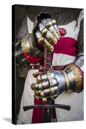 Historical Reenactment: Crusader Knight with Sword and Gauntlets with Jointed Iron Protective Cover--Stretched Canvas Print