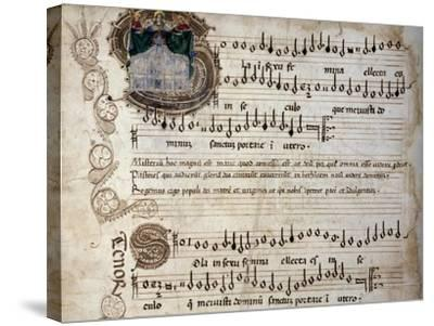 Liber Capella (Song Book) with Music Score of Mass for Four Voices by Heinrich Isaac (1445-1517)--Stretched Canvas Print