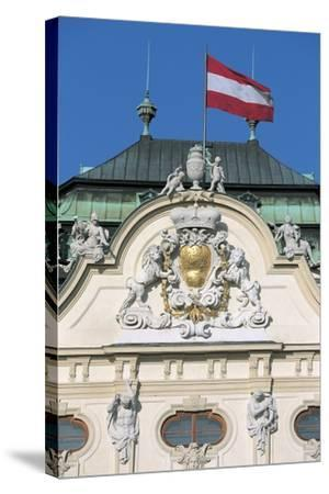 Low Angle View of an Austrian Flag on a Palace--Stretched Canvas Print