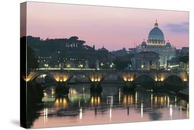 Night View of Dome of St Peter's Basilica--Stretched Canvas Print